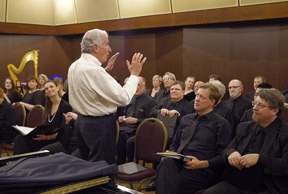 Bruce Chamberlain rehearsing with the chorus before Beethoven's 9th - COURTESY