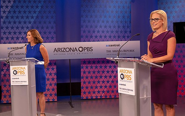 Martha McSally (left) and Kyrsten Sinema attacked each other's voting records during a live debate Monday night. - PHOTO BY CHRIS MCCRORY/CRONKITE NEWS