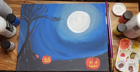 Join studio night and paint a halloween canvas on Friday, Oct. 26. - BOOKMAN'S EAST