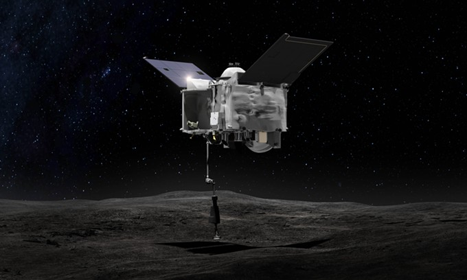 Artist's conception of OSIRIS-REx contacting Bennu's surface - NASA