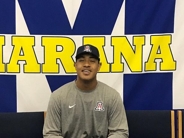 Marana senior offensive lineman commits to the University of Arizona on Wednesday, Dec. 19. - PHOTO COURTESY OF LOUIE RAMIREZ
