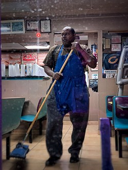 Louie mopping up at Luke's. - BRIAN SMITH