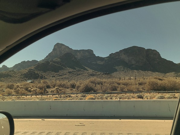 Picacho Peak is the strongest visual symbol of the drive between Tucson and Phoenix, looking like a frozen sloth rising from a vanished swamp. - COURTESY