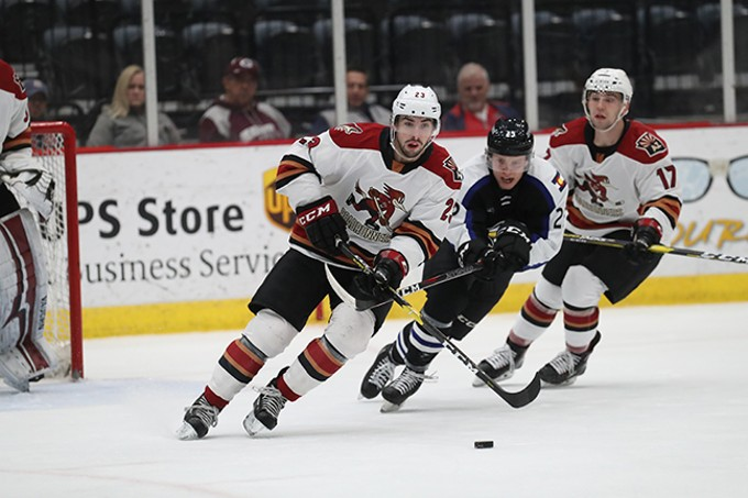 Roadrunners defenseman Kyle Capobianco skates down the ice after the puck on Wednesday, Dec. 12. - CHRIS HOOK