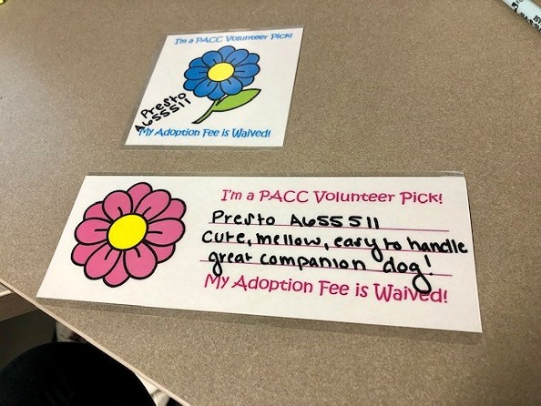 An example of the kennel cards for pets with waived fees. - COURTESY PACC