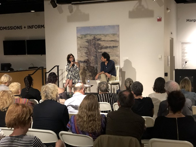"""Martha Sosa, the producer of such award-winning films as """"Amores Perros,"""" """"Presumed Guilty"""" and """"Plaza de la Soledad,"""" and Tucson Cine Mexico co-director Carlos Gutiérrez discuss nurturing new film talent at the festival's opening night Wednesday. - NICOLE LUDDEN 