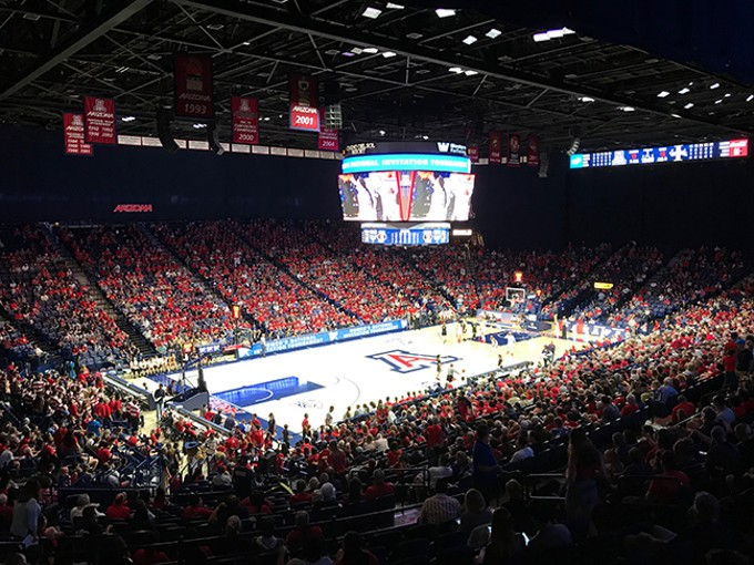 6,307 fans piled into McKale Center on Thursday night to cheer on the Wildcats. - CHRISTOPHER BOAN