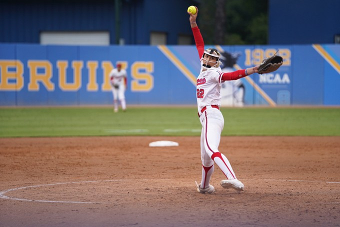 Arizona junior pitcher Alyssa Denham readies a pitch against UCLA during the Wildcats' game in Westwood on Friday, May 10. - COURTESY CONNOR BUSS