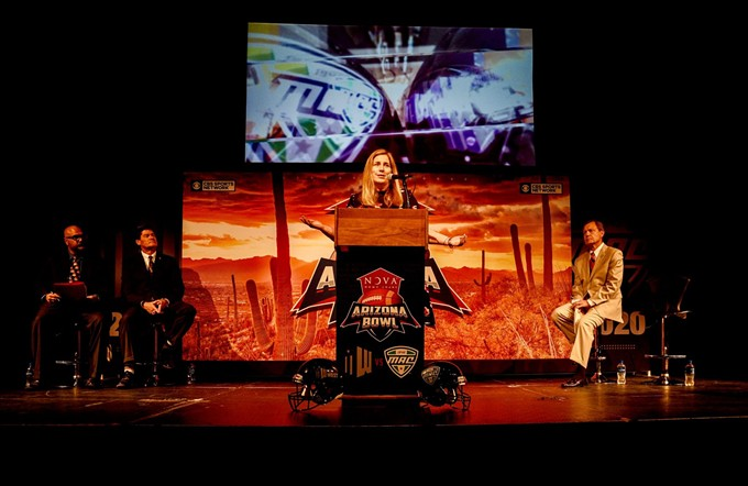 NOVA Home Loans Arizona Bowl Executive Director Kym Adair delivers the news: The Mid-American Conference will start an affiliation with the bowl in 2020. - COURTESY PHOTO