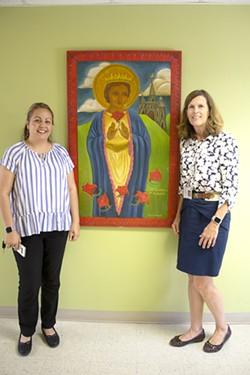 Carmen Noriega, left, and Karrie Cravens, of St. Elizabeth's Health Center. - EMILY DIECKMAN