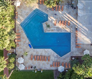 The uniquely-shaped Doubletree pool, which had multiple safety concerns. - COURTESY PHOTO