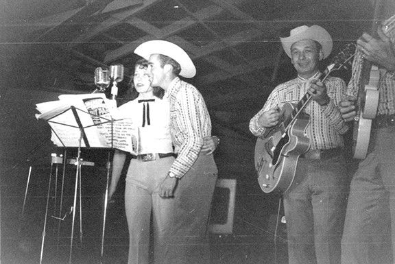 LaVerne and Kenny Smith, flanked by Dean Armstrong, Tucson Gardens, circa 1953.