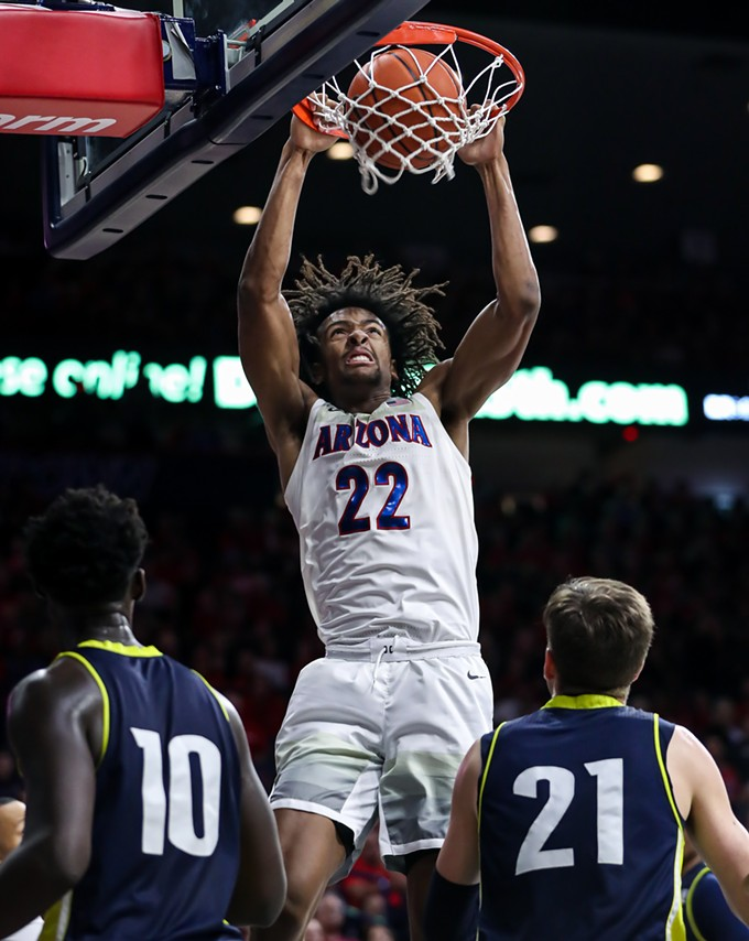 Arizona freshman forward Zeke Nnaji had a game-high 26 points and 11 rebounds in the Wildcats' 87-39 win over San Jose State University on Thursday, Nov. 14. - MIKE CHRISTY | ARIZONA ATHLETICS