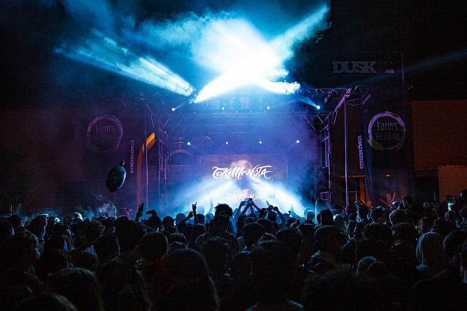 """TOKiMONSTA: This """"Lovely Soul,"""" L.A. dance/electronic beat producer guided the audience through """"Smoke & Mirrors"""" and, conversely, """"Bright Shadows"""" leaving all who attended Dusk 2019 with """"Last Nights Blurry Memories."""" - C. ELLIOTT PHOTOGRAPHY"""