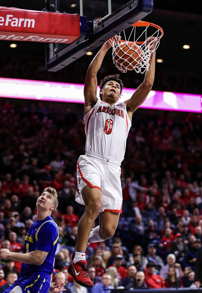 Arizona freshman guard Josh Green finished Thursday's game against South Dakota State with 15 points, 2 rebounds and an assist. The Wildcats won the contest, 71-64. - MIKE CHRISTY | ARIZONA ATHLETICS