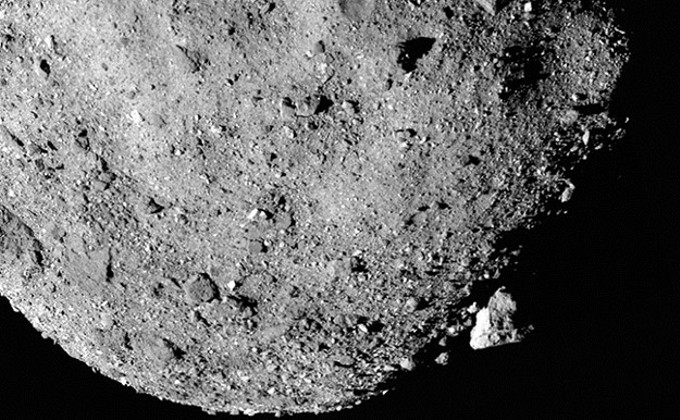 A closeup of Bennu, showing the asteroid's rough surface with many boulders. - NASA/GODDARD/UNIVERSITY OF ARIZONA