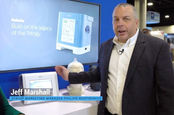Jeff Marshall, a senior marketing manager at Philips Respironics, demonstrates the commercial version of the Trilogy Evo in a HomeCare Magazine video filmed last year. (Obtained by ProPublica via YouTube) - PROPUBLICA