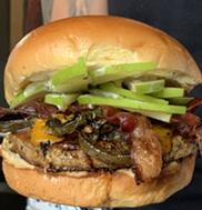 Lindy's National Burger Day Special: all-pork patty topped with bacon, cheddar, green apples, jalapenos and a caramel drizzle for $10 - LINDY'S ON 4TH