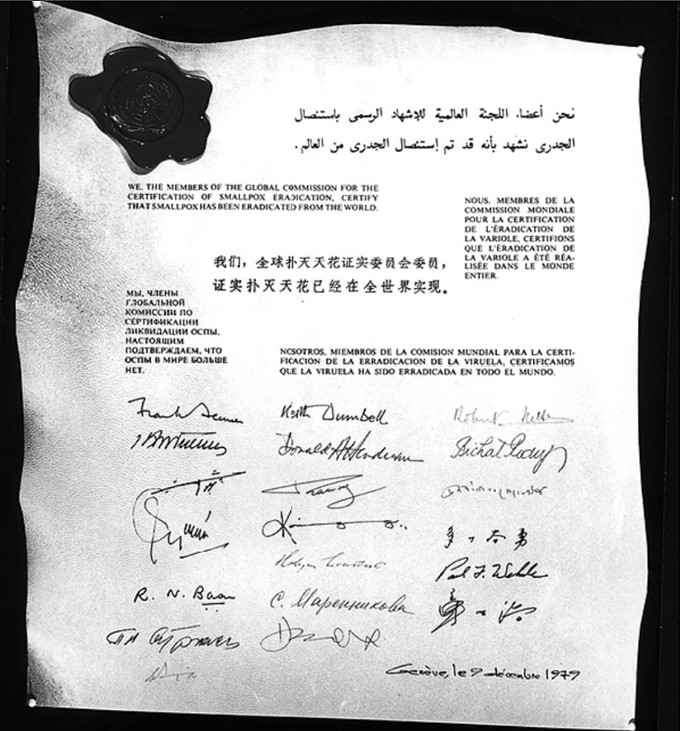 The World Health Organization's 1979 Declaration of Smallpox Eradication. During the Cold War, the WHO convened scientists from the U.S., the Soviet Union and other countries for a global vaccination program that eradicated smallpox, one of the world's most feared diseases. (Centers for Disease Control and Prevention via The College of Physicians of Philadelphia)