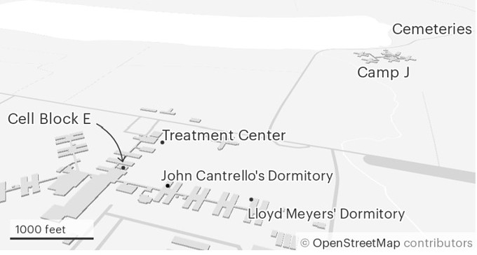 A map of part of the Angola prison complex.