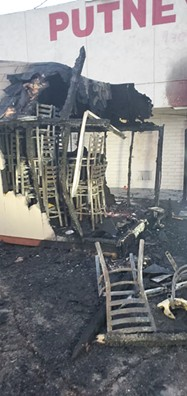 Damage to the storage-shed at Putney's Sports Bar and Grill after Tuesday morning's suspected arson fire. - FERNANDO GOMEZ