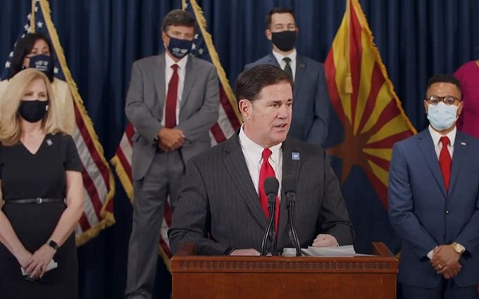 Gov. Doug Ducey on Thursday, backed by U.S. Census Bureau Director Steven Dillingham and members of the Arizona Complete Count Committee, urged Arizonans to fill out their 2020 Census questionaires. With less than two weeks remaining, Arizona's reponse rate was below 90%, the eighth-worst response rate in the nation. - PHOTO COURTESY ARIZONA GOVERNOR'S OFFICE