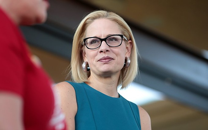 """Arizona Sen. Kyrsten Sinema, in a photo from 2018, is the rare Senate Democrat who has not gone on record against a GOP plan to move quickly on a replacement for Supreme Court Justice Ruth Bader Ginsburg. Political analysts see it as part of Sinema's effort to portray herself as a nonpartisan, but one Arizona Democrat calls it """"unacceptable."""" - PHOTO BY GAGE SKIDMORE/CREATIVE COMMONS"""