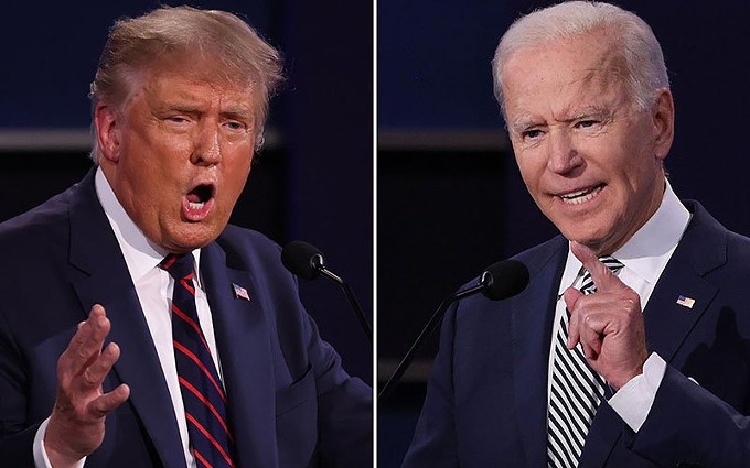 """President Donald Trump raised eyebrows, and concerns, with his remark in Tuesday's debate that violent right-wing groups should """"stand by."""" He later tried to say the problem is the left-wing groups, and accused former Vice President Joe Biden of refusing to endorse law and order during the debate. - PHOTO COURTESY CNN VIA CRONKITE"""