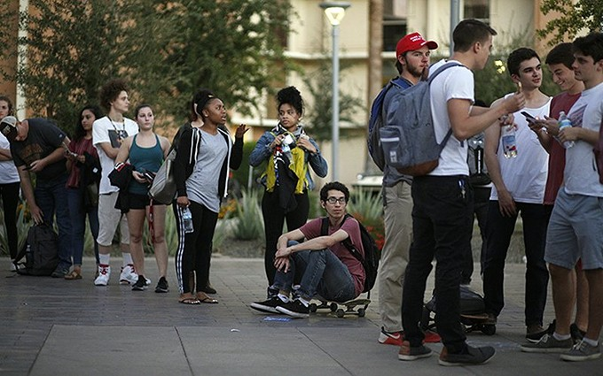 Arizona State University students on the Tempe campus wait to vote in the 2018 midterms. Garrett Archer, a data analyst, says the better-than-usual turnout of young voters in 2018 was surprising. - FILE PHOTO BY ANYA MAGNUSON/CRONKITE NEWS