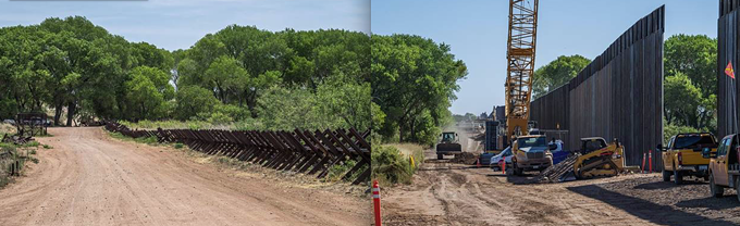 Side-by-side photos of the San Pedro floodplain in June 2019 and October 2020.