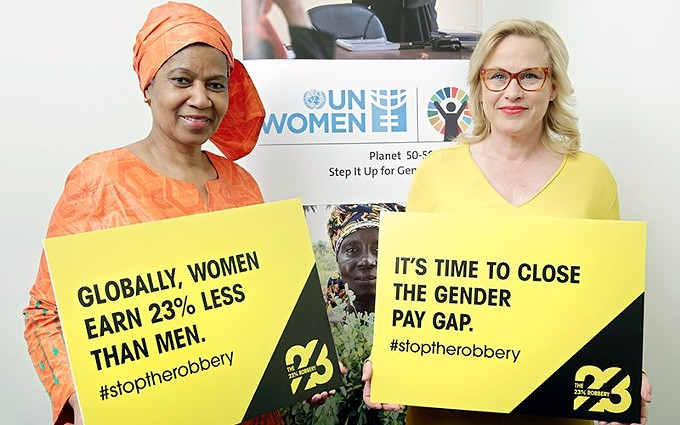 The United Nations has campaigned to close the gender pay gap, which is estimated to be 23% globally. Experts in the U.S. say efforts to close the gap need to combine government and company policies with worker collaborations. - UN WOMEN/RYAN BROWN