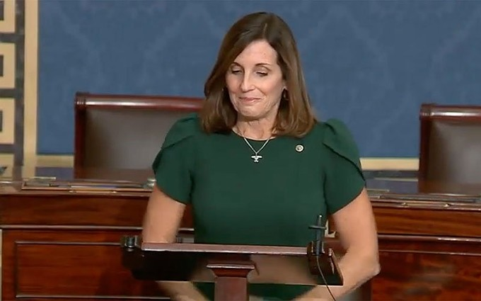 """Sen. Martha McSally, R-Arizona, choked up once or twice during an emotional farewell on the Senate floor in which she said """"serving and fighting for Arizona as a U.S. senator has been the opportunity of a lifetime."""" McSally could be replaced by Democrat Mark Kelly in as little as two weeks, pending certification of this month's election results. - SEN. MARTHA MCSALLY'S OFFICE"""