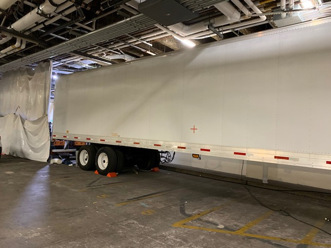 A refrigerated truck at Banner University Medical Center Phoenix stores bodies as morgues become overwhelmed with deceased COVID-19 patients. - BANNER HEALTH