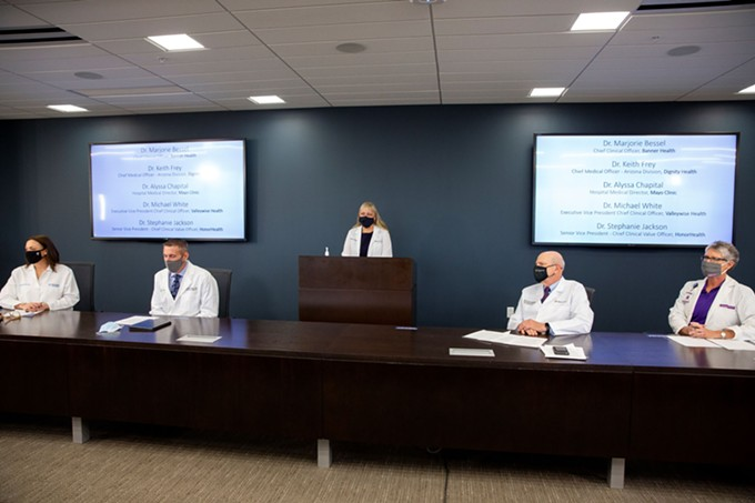 Five officials from Arizona's hospital systems joined together to speak to the dire conditions of COVID-19 in the state. - BANNER HEALTH