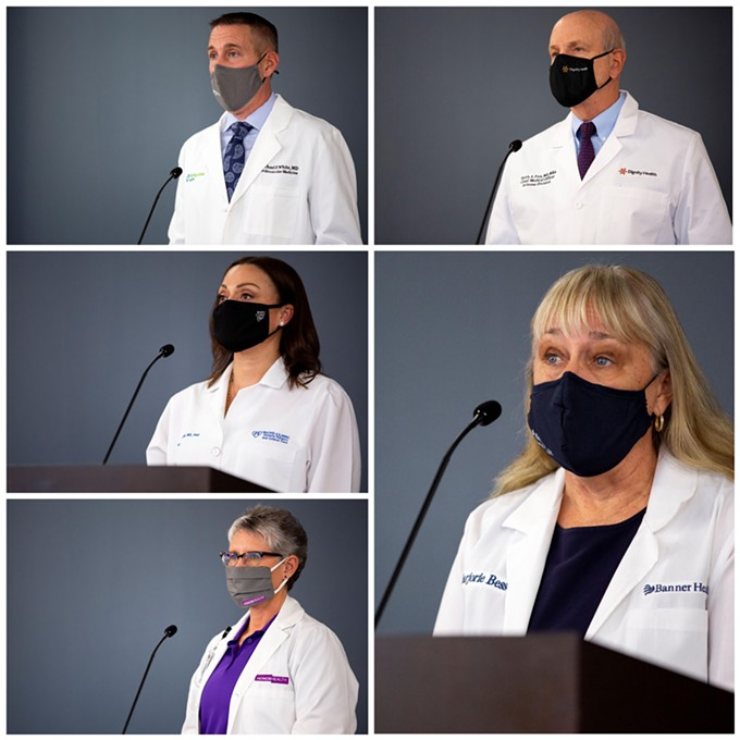 Dr. Marjorie Bessel, Dr. Keith Frey, Dr. Alyssa Chapital, Dr. Michael White and Dr. Stephanie Jackson held a joint press conference on Jan. 13 as nearly 1 in 10 Arizonans is currently battling COVID-19. - BANNER HEALTH