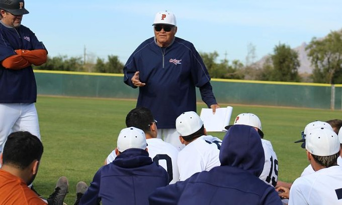 Rich Alday talks with his PCC baseball team. - COURTESY PIMA COMMUNITY COLLEGE