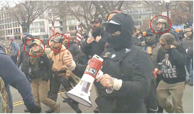 A group of known Proud Boys affiliates marching toward the Capitol grounds on Jan. 6. Tucson brother and sister Felicia and Cory Konold are circled on the left. - UNITED STATES DISTRICT COURT CRIMINAL COMPLAINT FILED FEB. 10