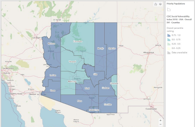 """ADHS's latest vaccination plan shows a map representing the SVI levels throughout the state, which they say """"was developed to identify communities that will need support before, during, and after public health emergencies...County health departments will utilize this map layer to identify communities that may have groups of socially vulnerable populations and need additional outreach and services."""" - """"COVID-19 VACCINATION PLAN,"""" ARIZONA DEPARTMENT OF HEALTH SERVICES, JAN. 15, 2021 3RD EDITION"""