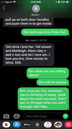 Text messages between Steven Carrillo and his brother Evan shortly before Carrillo allegedly killed a deputy sheriff. - COURTESY OF EVAN CARRILLO