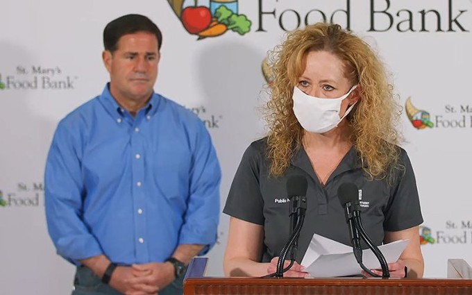 Gov. Doug Ducey and Arizona Department of Health Services Director Dr. Cara Christ have a lot of fine print for the county to agree to before FEMA and the county can set up vaccination clinics for low-income and minority residents. - ARIZONA GOVERNOR'S OFFICE FILE PHOTO