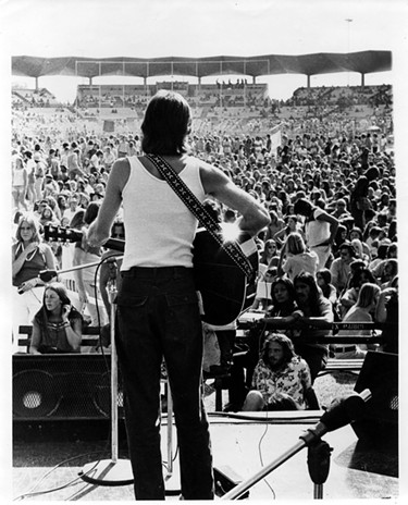Bob Meighan supporting Little Feat, Phoenix Giants Stadium, 1973. - COURTESY STEVE LIND