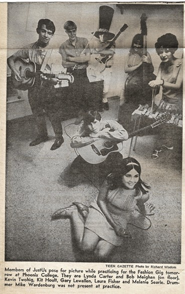 Meighan (center, floor) in Phoenix Gazette with Just-Us and Lynda Carter (front center), 1968. - COURTESY JOHN DIXON