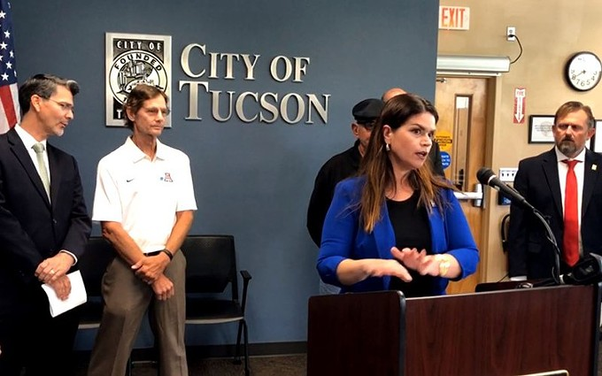 Tucson Mayor Regina Romero, backed by city residents and state and local officials, announces plans to shut down a water treatment facility to protect it from the chemical PFAS. Officials say the water is safe and they want to keep it that way - but want federal officials to do more to solve the problem. - CITY OF TUCSON