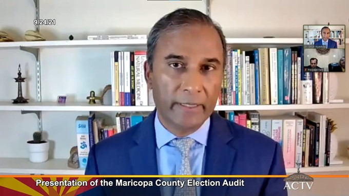 """Shiva Ayyadurai gave a presentation on an analysis he did of Maricopa County early ballot envelopes as part of the Arizona Senate's so-called election """"audit."""" In it, he made a series of misleading statements about supposed """"anomalies"""" he found, all of which are easily explained and stem from his ignorance of elections administration. - SCREENSHOT VIA ARIZONA SENATE"""
