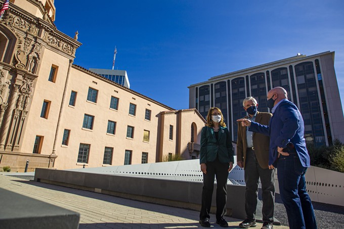 Former Congresswoman Gabrielle Giffords and Senator Mark Kelly tour the January 8th Memorial on Saturday, December 12, 2020. - RANDY METCALF
