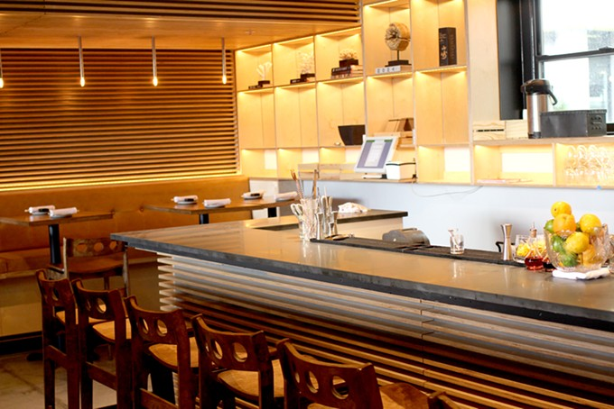 Obon's stylish interior uses wood finishings for a modern look. - HEATHER HOCH