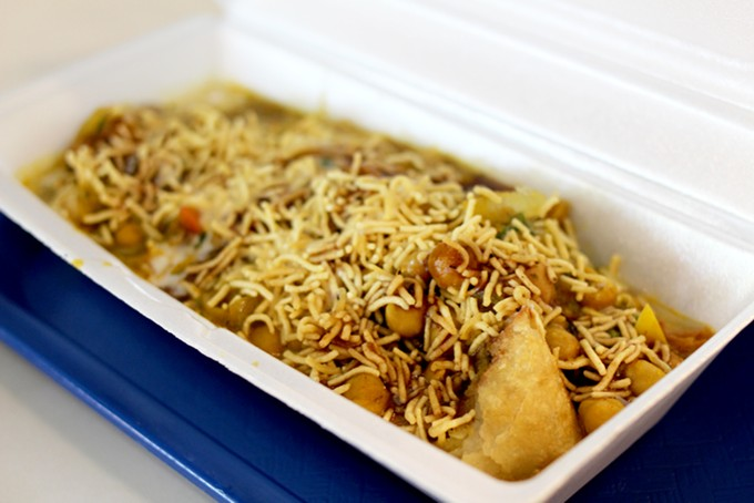 Samosa serves with chana chat is a filling alternative to a samosa side dish. - HEATHER HOCH