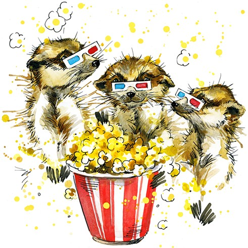 Meerkats eating popcorn while it rains butter. Perfection. - BIGSTOCK