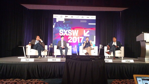 From left: Rep. Will Hurd, R-Texas; Quorum Co-Founder, Alex Wirth; Rep. Ruben Gallego, D-Ariz.; and Iron Bow CEO, Rene LaVigne discussing the use (or lack of use) of data in government and how private companies can help fill in some of the gaps at SXSW 2017 on March 11. - NICK MEYERS