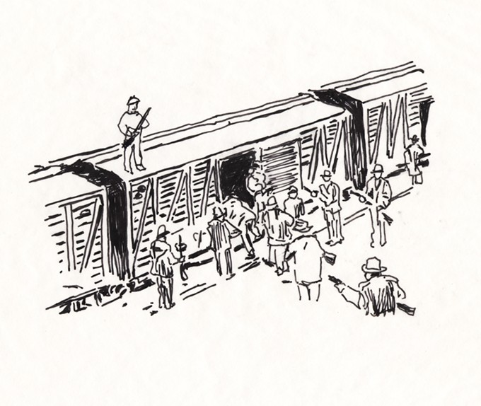 Sketch of the Bisbee deportees being loaded onto boxcars, by Laurie McKenna. The penny press in her installation The Undesirables will emboss this scene on real pennies.